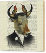 Banteng With Hummingbirds Wood Print