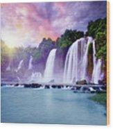 Banyue Waterfall Wood Print