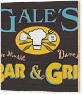 Bar And Grill Sign Wood Print