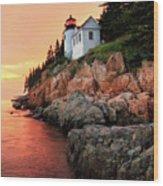 Bar Harbor Light House Wood Print
