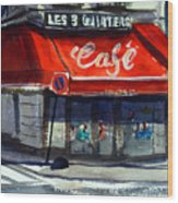 Bar Les 3 Quartiers Wood Print