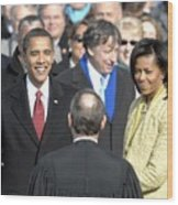 Barack Obama Is Sworn In As The 44th Wood Print by Everett