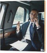 Barack Obama Talks To A Member Wood Print by Everett