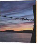 Barbed Wire Sunset Wood Print