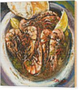 Barbequed Shrimp Wood Print by Dianne Parks