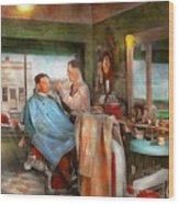 Barber - Getting A Trim 1942 - Side By Side Wood Print