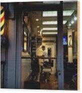 Barber Shop At Closing Time Wood Print