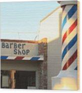 Barber Shop Wood Print by Troy Montemayor