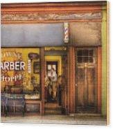 Barber - Towne Barber Shop Wood Print