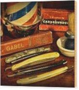 Barber - Vintage Barber Wood Print