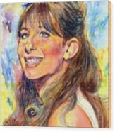 Barbra Streisand Young Portrait Wood Print