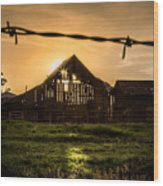 Barbwire Barn Wood Print