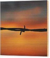 Barbwire Sunset Wood Print