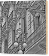 Barcelona Balconies In Black And White  Wood Print