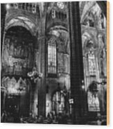 Barcelona Cathedral Interior Bw Wood Print