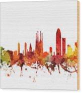 Barcelona Cityscape 04 Wood Print