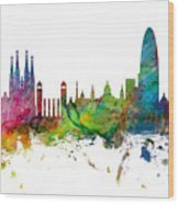 Barcelona Spain Skyline Panoramic Wood Print