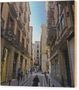 Barcelona Street Scene Wood Print