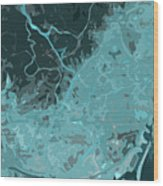 Barcelona Traffic Abstract Blue Map Wood Print