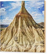 Bardenas Desert Last Man Standing - Vintage Version Wood Print