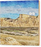 Bardenas Desert Panorama 3 - Vintage Version Wood Print