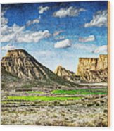 Bardenas Desert Panorama 4 - Vintage Version Wood Print
