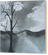Bare Tree In Moonlight Wood Print