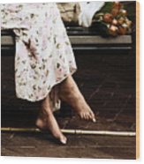 Barefoot And Tulips Wood Print