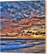Barefoot Beach Sunset Wood Print