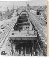 Barge Construction Wood Print