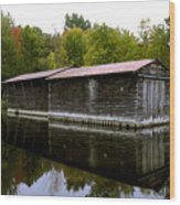 Barge House On The Erie Canal Wood Print