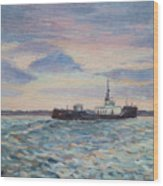 Barge On Port Phillip Bay Wood Print