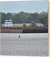 Barge On Tennessee River At Shiloh National Military Park Wood Print