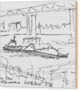 barge under Kanavinsky Bridge. 21 August, 2015 Wood Print