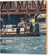 Barge Work With The Tug Tanner Wood Print