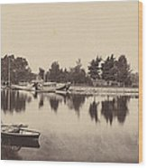 Barges At Oxford Wood Print