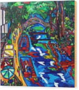 Barges On The Riverwalk Wood Print