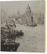 Barges On The South Bank Wood Print