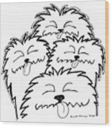 Bark Bark - Cute Dogs Wood Print