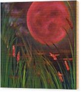 Barley Spike Moon Wood Print