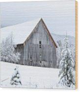 Barn After Snow Wood Print