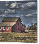 Barn After Storm Wood Print