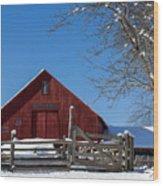 Barn And Blue Sky Wood Print