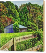 Barn And Fence In Tall Grass Wood Print