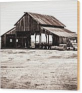 Barn And Irrigation Pipes Wood Print