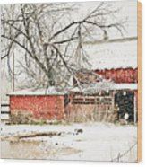 Barn And Pond Wood Print
