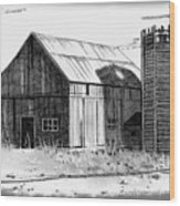 Barn And Silo Distressed Version Wood Print