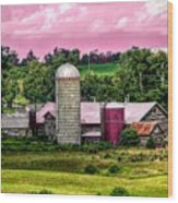 Barn And Silo With Infrared Touch Of Pink Effect Wood Print