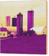 Barn And Silos Amertrine Effect Wood Print