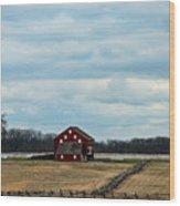 Barn And Split Rail Fence Wood Print